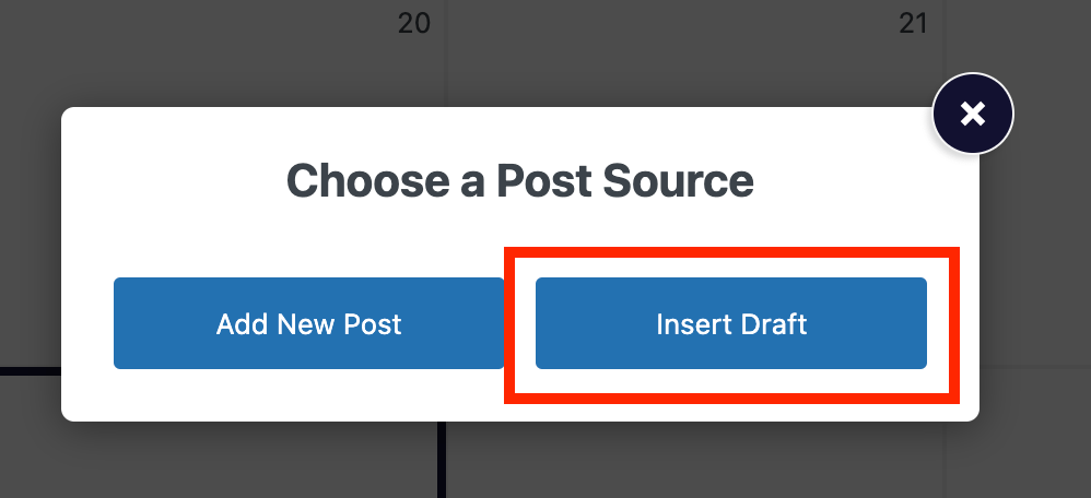 Button for inserting a draft