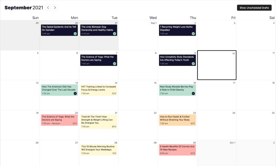 Strive's content calendar