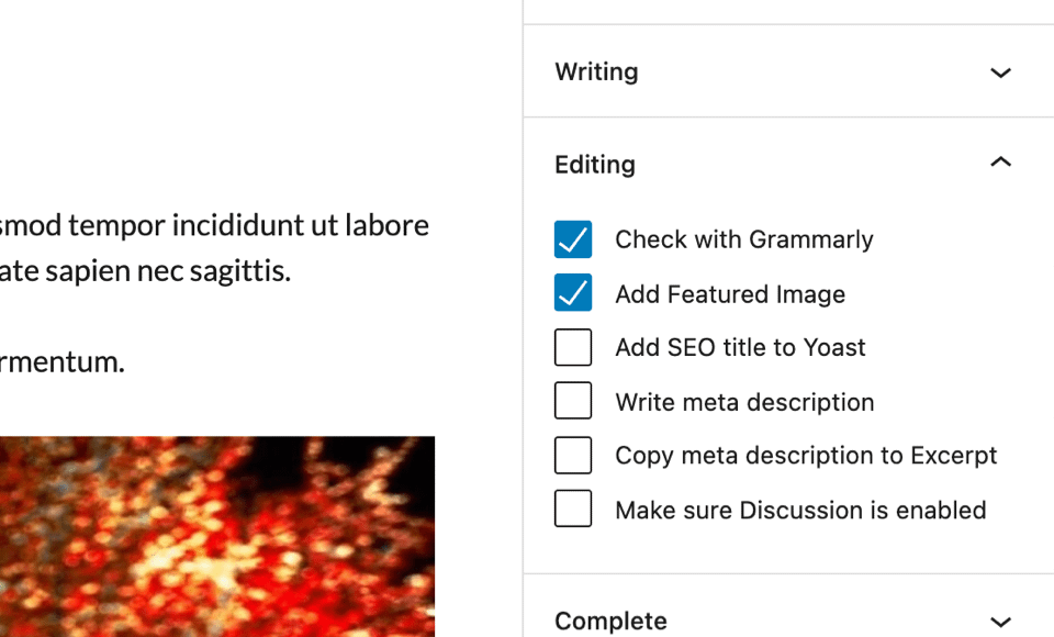 Post checklist in the editor sidebar