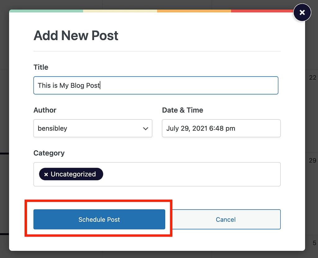 Menu for adding new posts