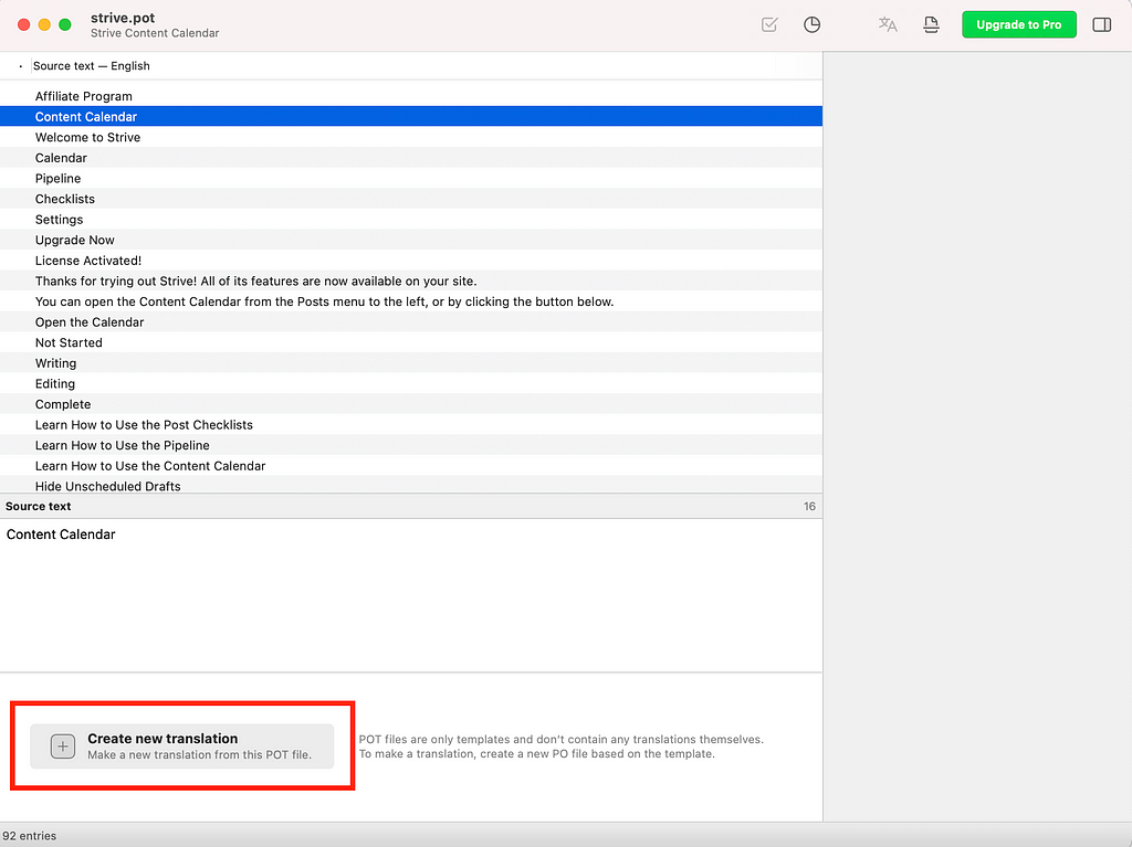 create po file