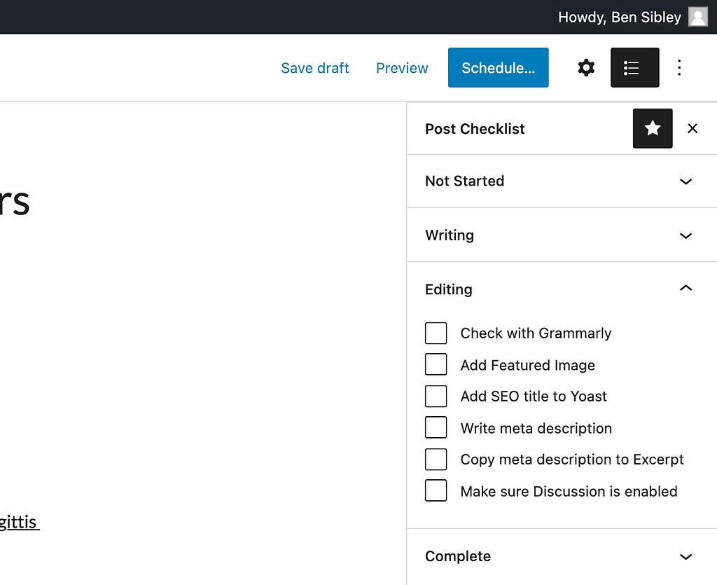 checklist sidebar