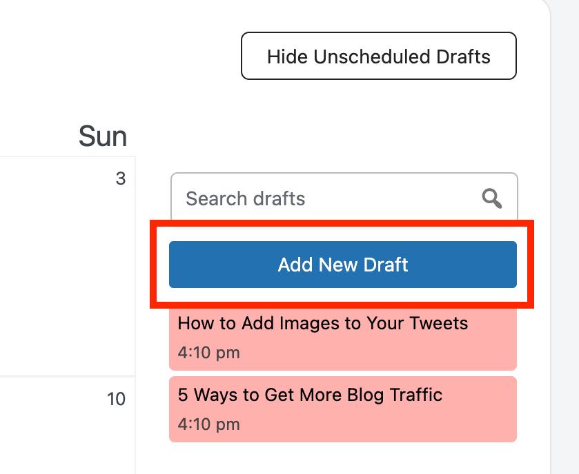 add new post draft button