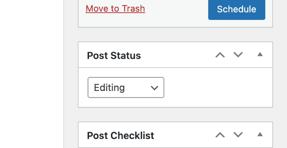 Post status setting in Classic Editor