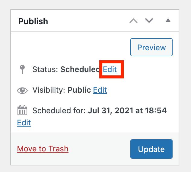Edit status link