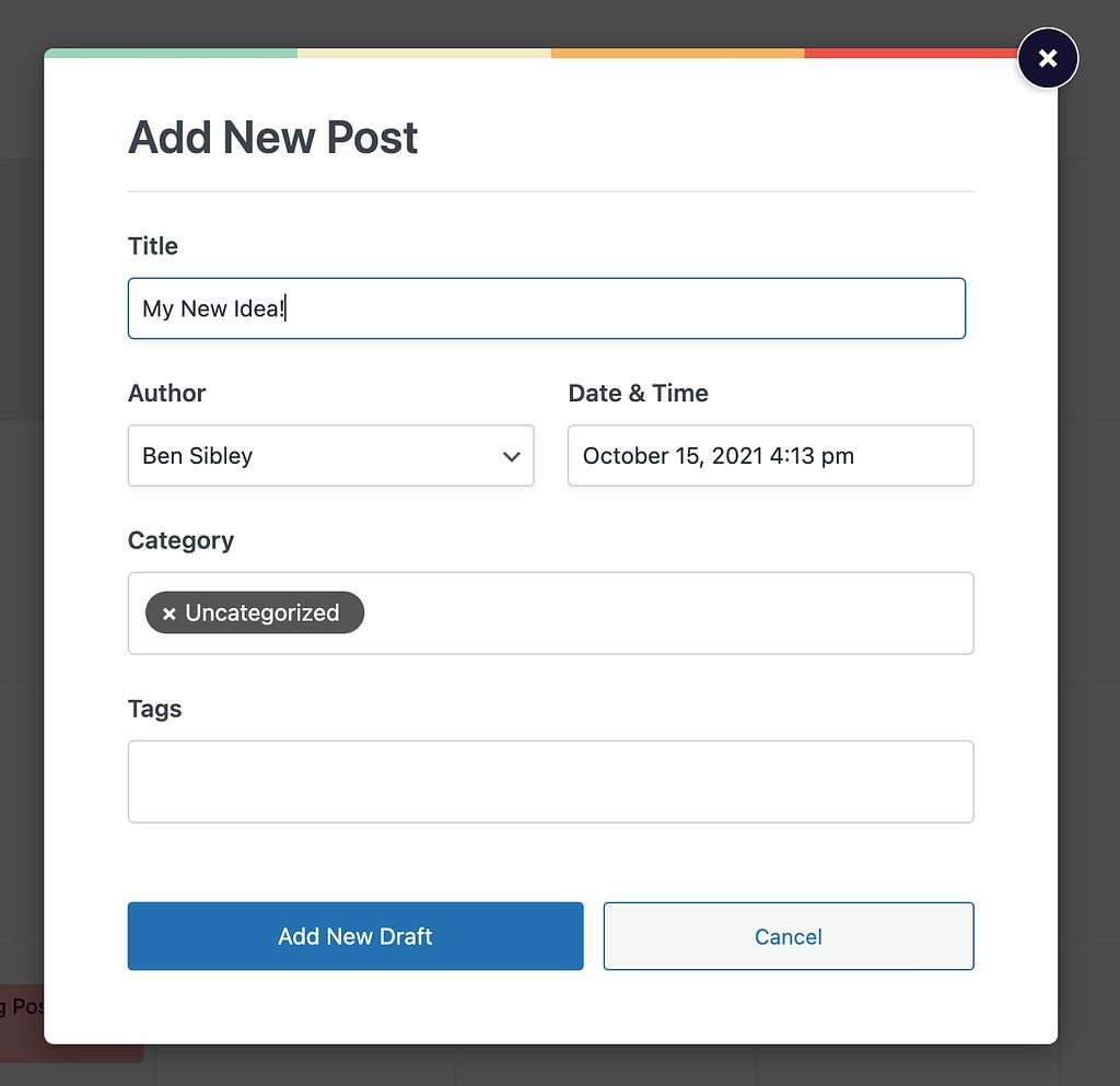 Add New Draft menu