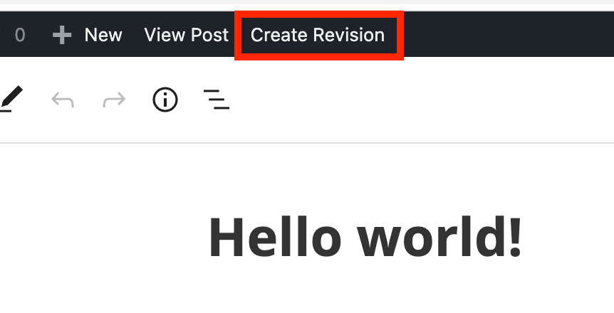Create Revision link in the admin toolbar