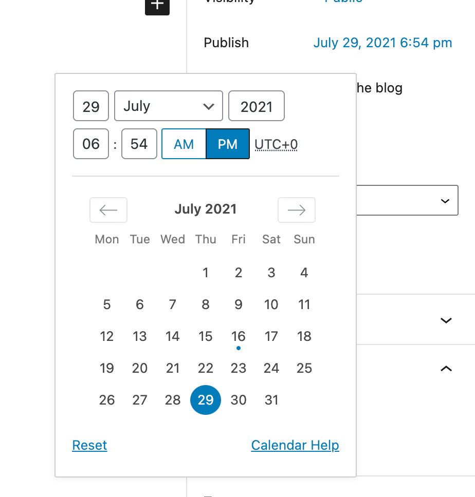Calendar for picking a date