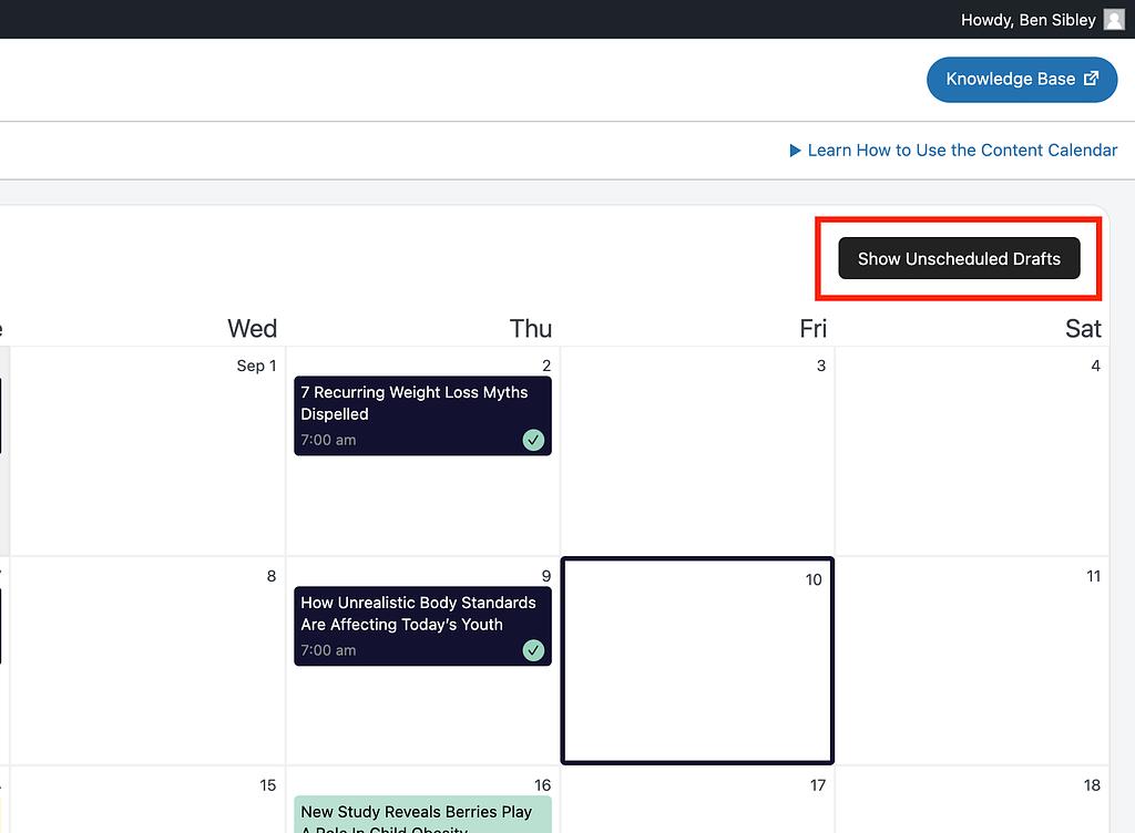 Show Unscheduled Drafts button