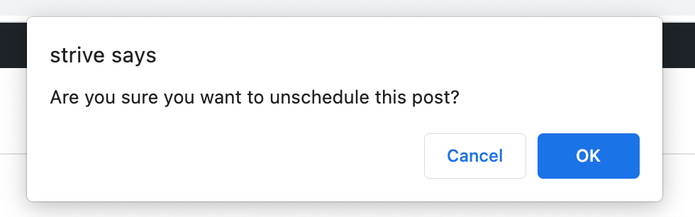 Unscheduling confirmation popup