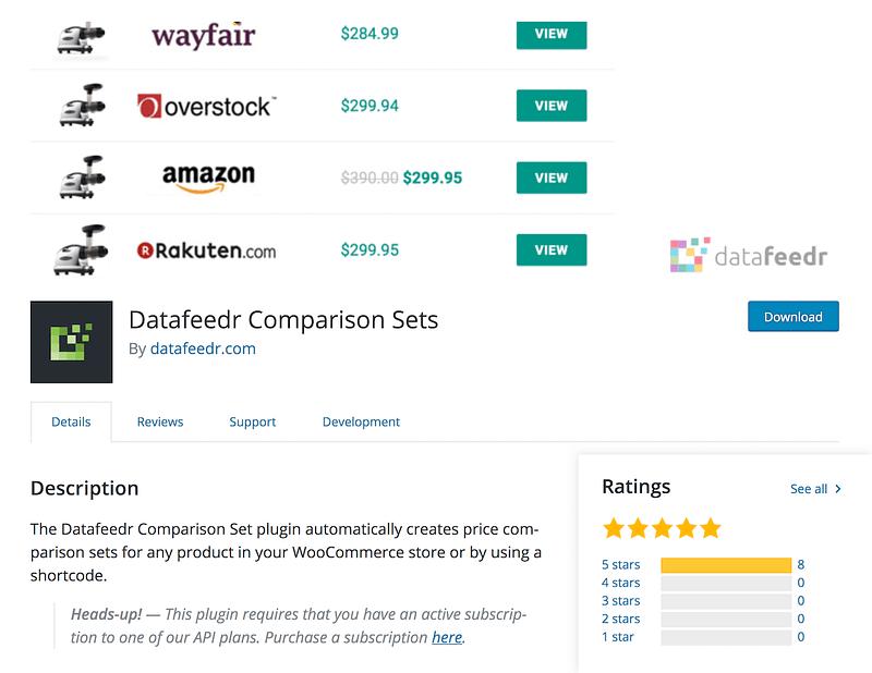 Datafeedr Comparison Sets
