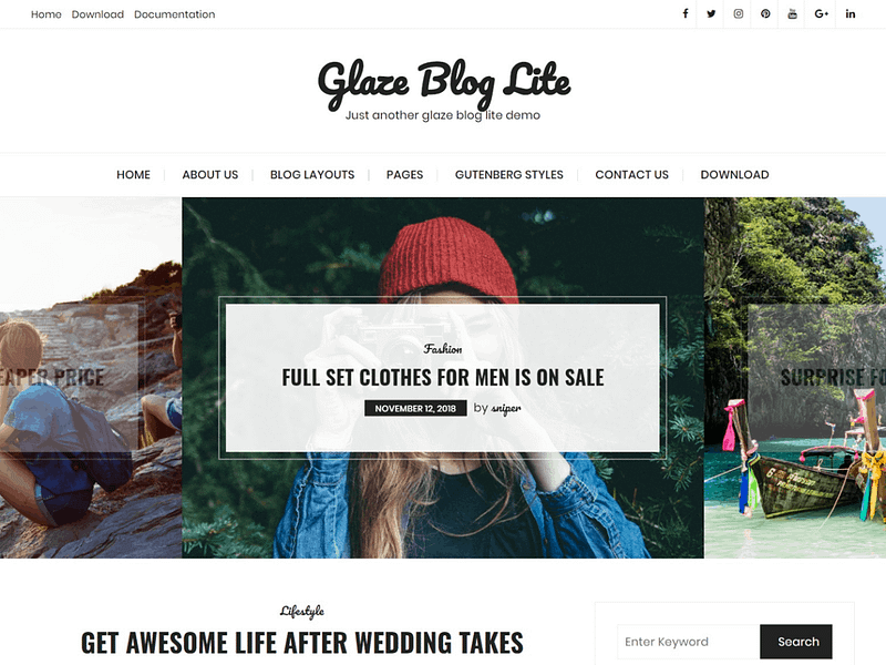 Glaze Blog Lite theme