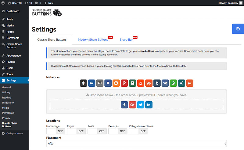 Share Buttons Settings