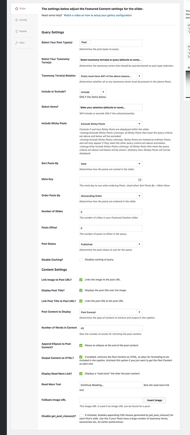Settings available in the Featured Content add-on