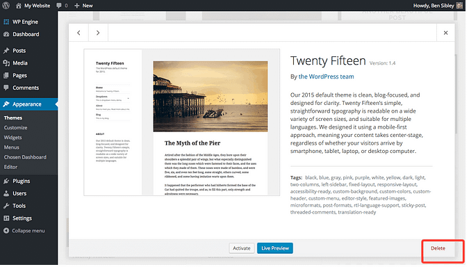 screenshot of a WordPress theme being deleted