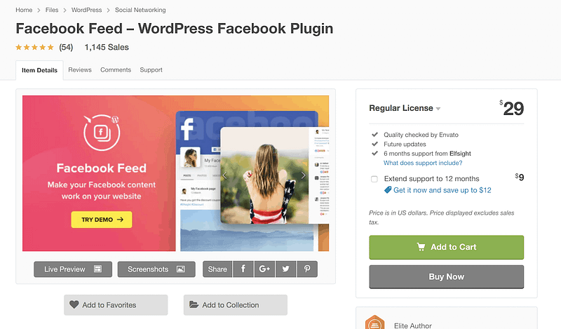 Facebook Feed premium plugin