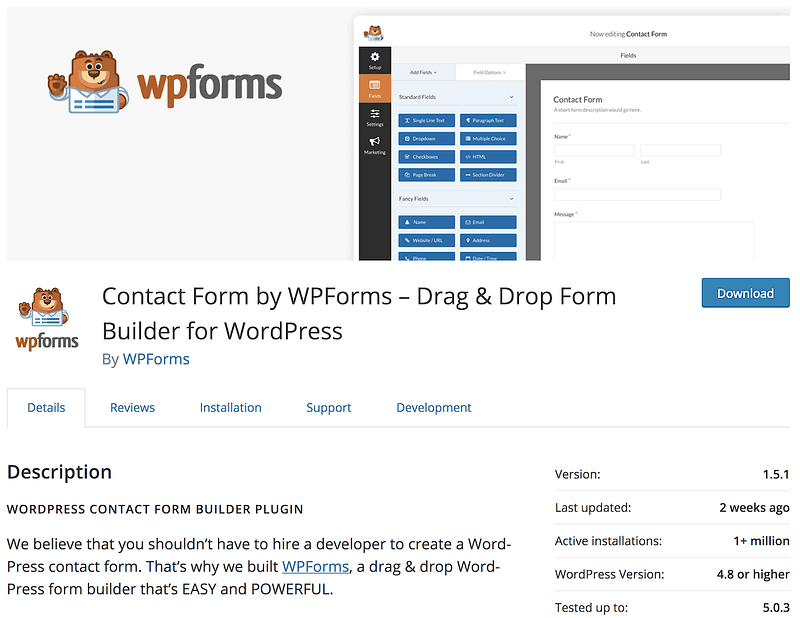 Doplnok WPForms na wordpress.org