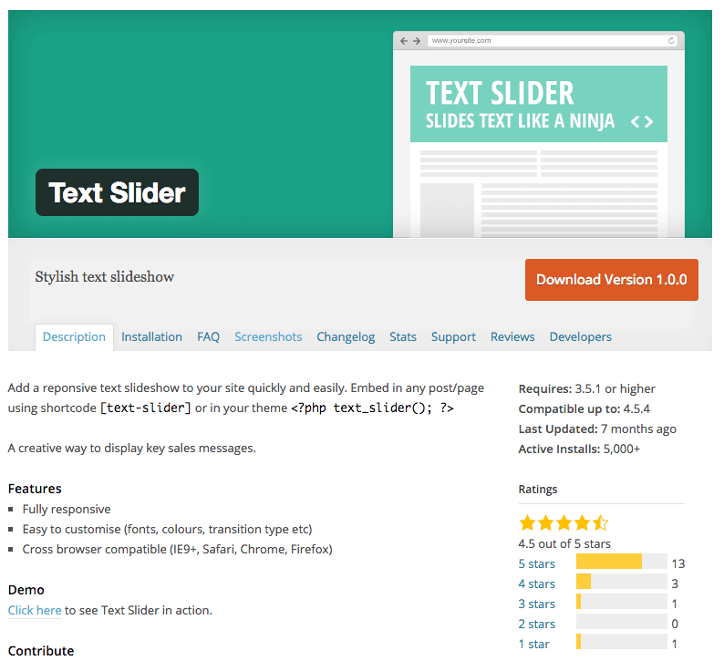 Text Slider plugin