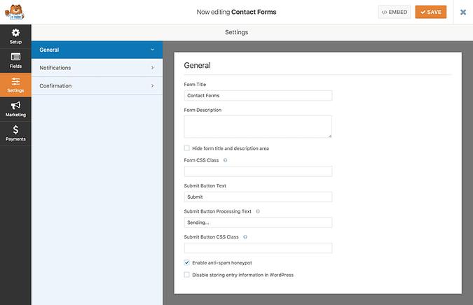 General settings tab in WPForms