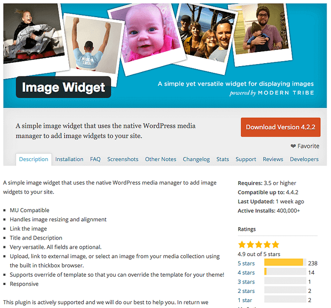 screenshot of the Image Widget plugin on wordpress.org