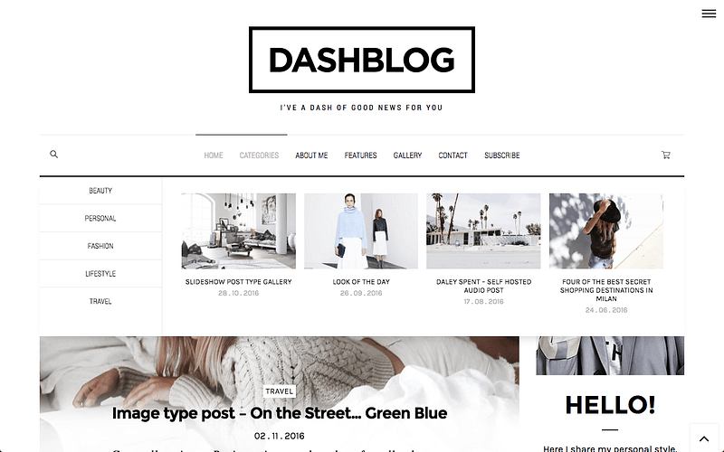 DashBlog theme with mega menus