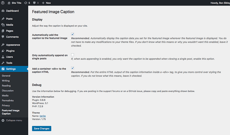 Featured Image Caption Settings