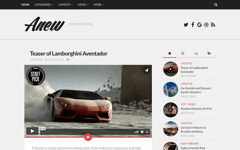 Anew tumblr style blog theme