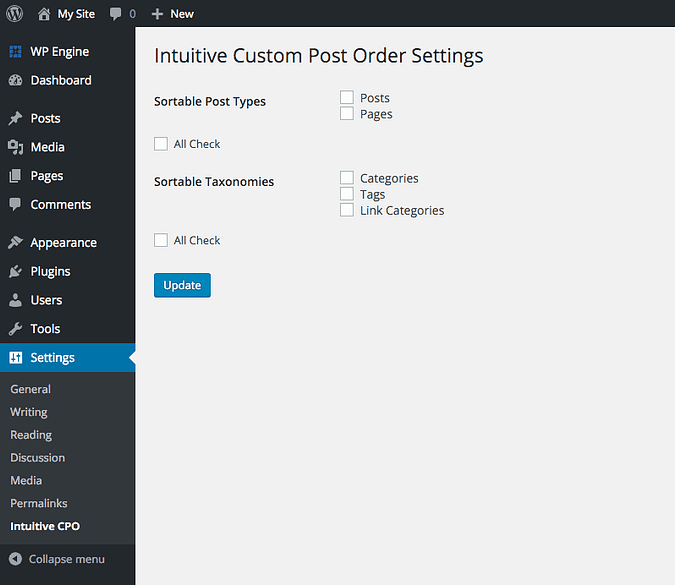the Intuitive Custom Post Order settings