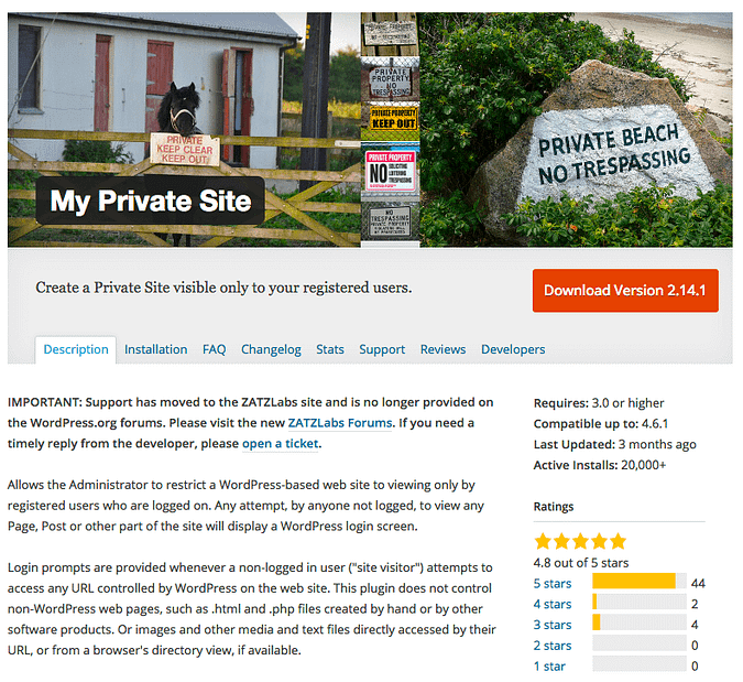 screenshot of the My Private Site plugin