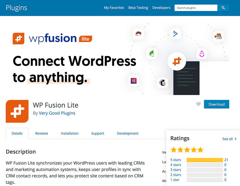 WP Fusion Lite plugin
