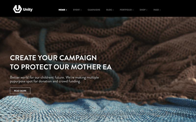 Unity charity crowdfunding theme