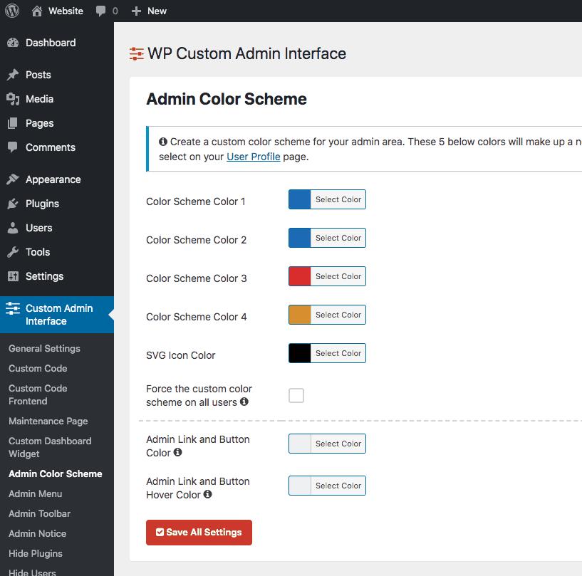 Custom Admin Colors