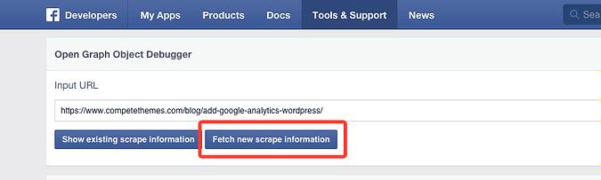 screenshot of facebook debugger app