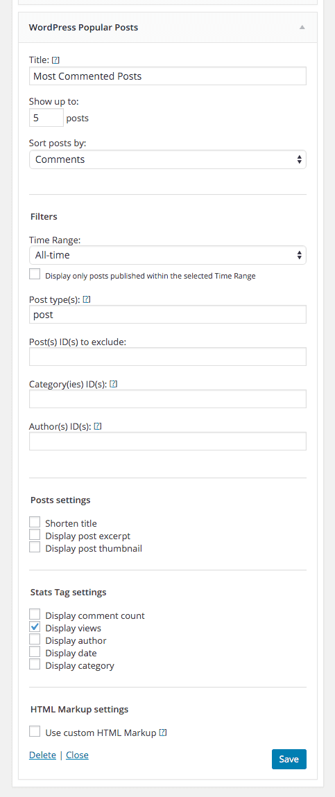 screenshot of Most Commented on Posts settings