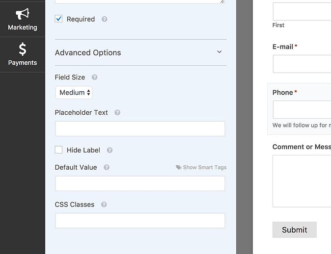 Screenshot of the advanced field options