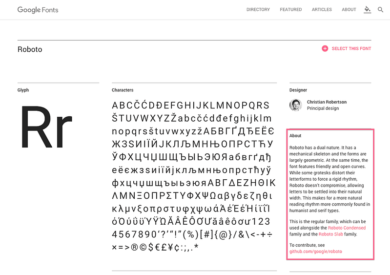About The Font