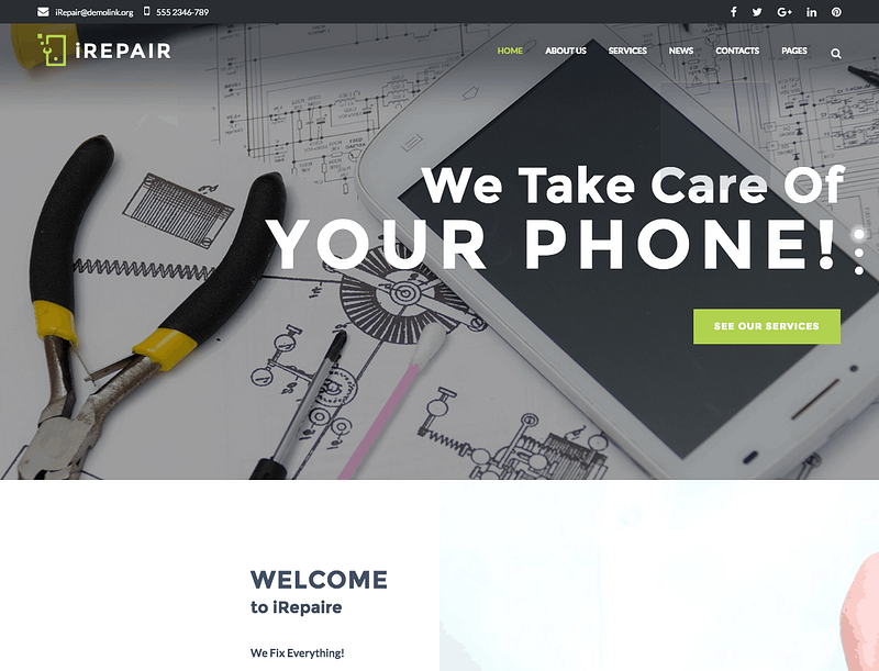 iRepair WordPress theme