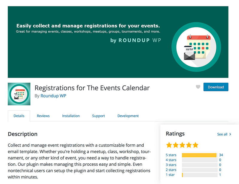 Registrations Events Calendar Plugin