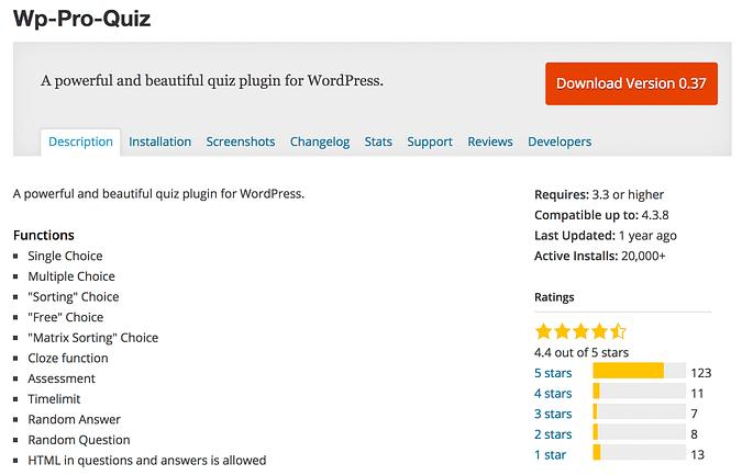 WP-Pro-Quiz plugin