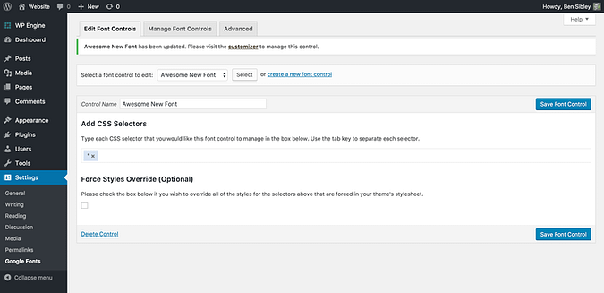 screenshot of the CSS selectors updated