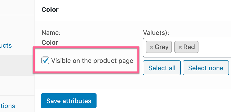 Visible On Product Page
