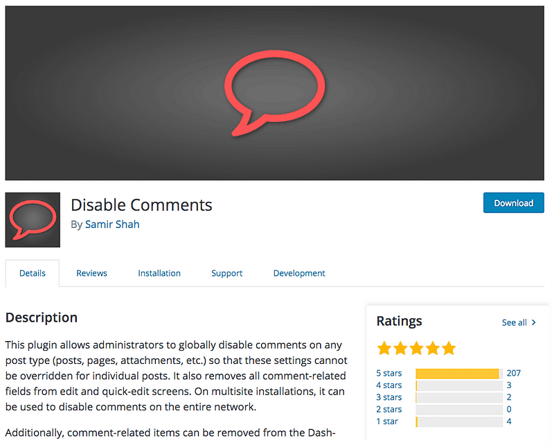 Disable Comments plugin