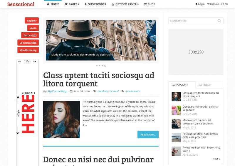Sensational WordPress blog theme