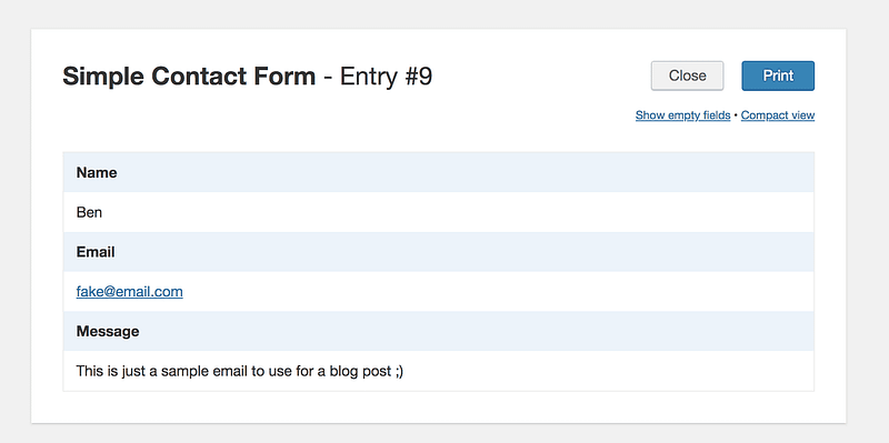 WPForms Email Print View