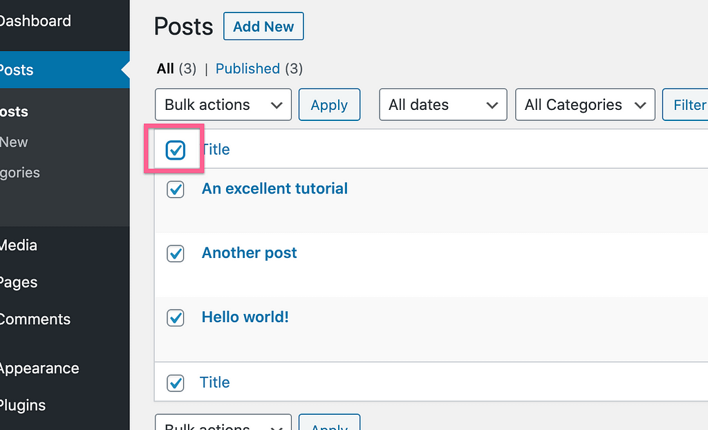 Bulk Select Posts