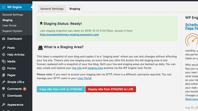 screenshot of the WP Engine staging page