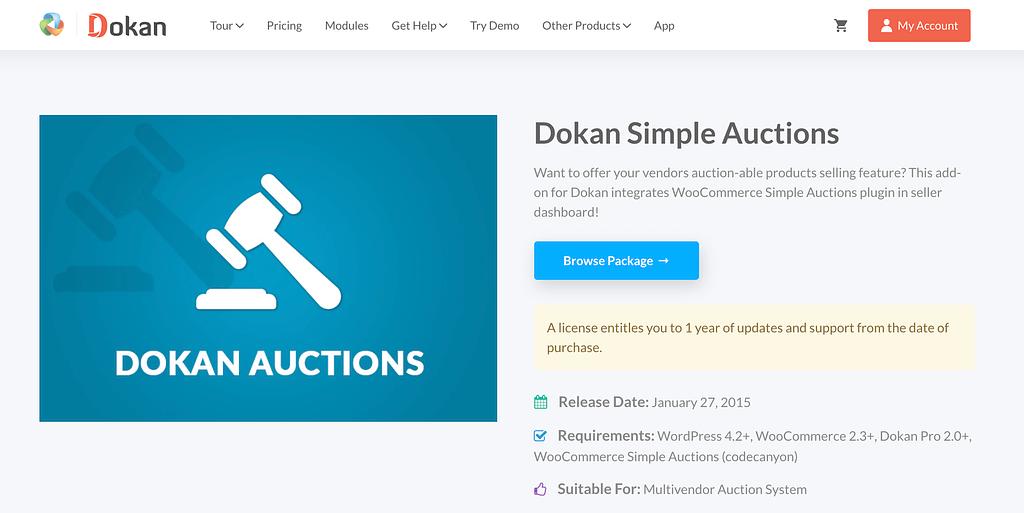 Dokan Simple Auctions