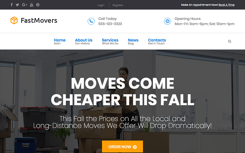 Fast Movers moving company WordPress theme