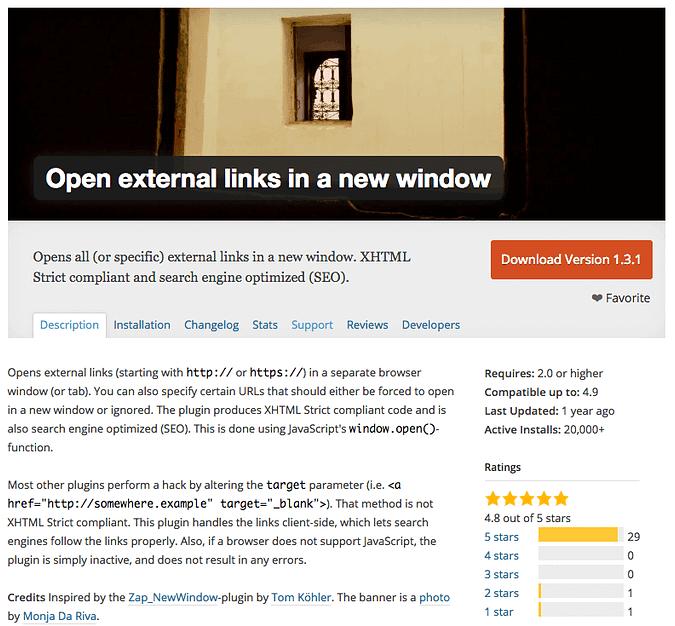 The Open external links in a new window plugin
