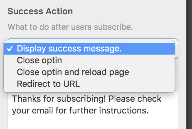 MailOptin Success Action